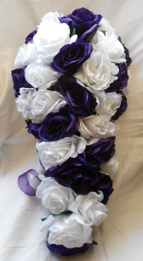White and royal purple cascading bridal wedding bouquet 2pc. Free small toss