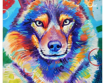 "Smiling Wolf - Original colorful traditional acrylic painting on paper 8.5""x11"""