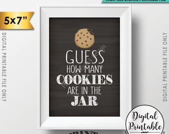 "Guess How Many Cookies are in the Jar Sign, Guess the Number of Cookies, Cookie Game, 5x7"" Chalkboard Style Printable Instant Download"