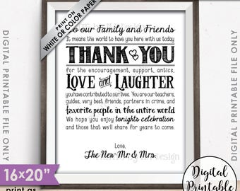 """Wedding Thank You Sign, Thank You Wedding Welcome Sign, Thank family & friends, Gratitude, 8x10/16x20"""" Printable Instant Download"""