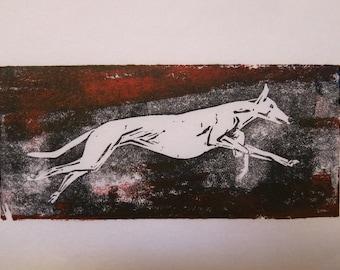 Running Greyhound  art block print greyhound