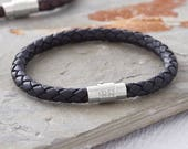 Mens Personalised Clasp Plaited Leather Bracelet