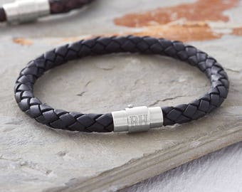 Men's Personalised Clasp Plaited Leather Bracelet