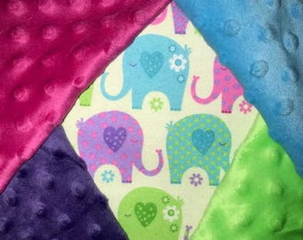 Personalized, Customized, Girly Elephants Blanket