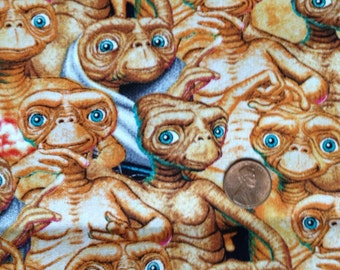 E.T., ET, Extra Terrestrial 100% Cotton Fabric All-Over Print FQ/Fat Quarter or Half Yard ~ Springs Creative, Universal Studios