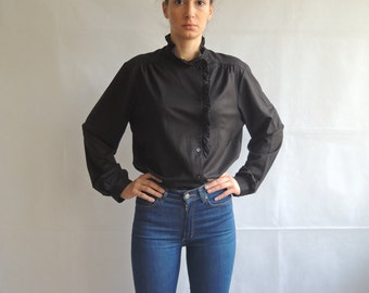 Vintage Black Button Up Long Sleeve Blouse