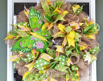 Spring wreath, Summer wreath, Butterfly wreath, Front door wreath