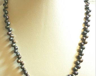 Genuine Keshi Pearl Purplish Blue SterlingSilver Necklace, Pearl Necklace.Double Purpose Necklace and or a Bracelet.