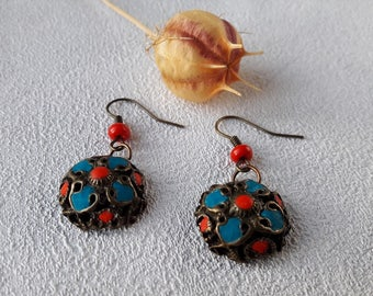 Small earrings gift for girl Jewelry turquoise earrings Dangle red earrings tribal style boho gift for woman earrings unique polymer clay