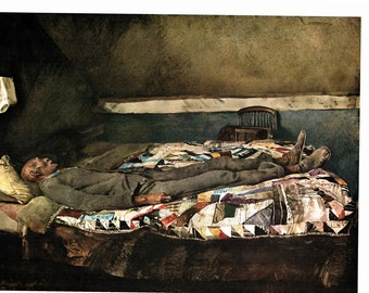 Large Prints Garret Room and Cooling Shed painted by Andrew Wyeth.The page is approx 16 1/2 inches wide and 13 inches tall.