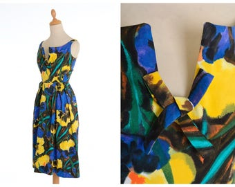 Vintage 1950s blue and yellow floral print cotton dress - size XS