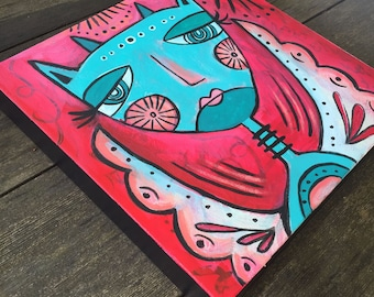 Bad Kitty Acrylic Painting on Canvas, Red, Pink, Black and Turquoise Blue, Original Wall art