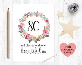 80th Wedding Anniversary Gift Ideas : 80th birthday card 80th floral birthday card one blessed life 80th ...