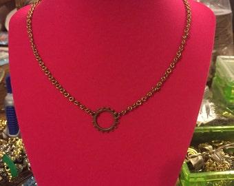 """Steampunk Bronze Gear Necklace 16"""""""