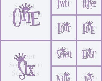 Numbers with Crown Cookie Stencils (10 separate stencils, you choose the one # you want)