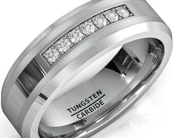 8mm CZ Diamonds Tungsten Carbide Ring Mens Women Wedding Band - Comfort fit