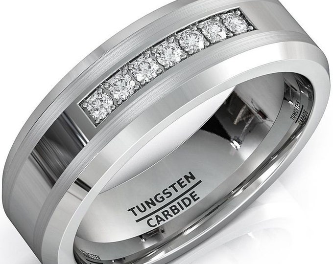 Personalised Free Engraving- 8mm CZ Diamonds Tungsten Carbide Ring Mens Women Wedding Band - Comfort fit