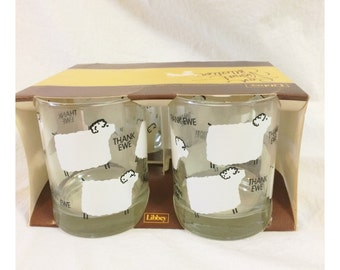 """Vintage Libbey """"Thank Ewe"""" Sheep Low Ball Double Old Fashioned Drinkware Set of 4. NOS"""