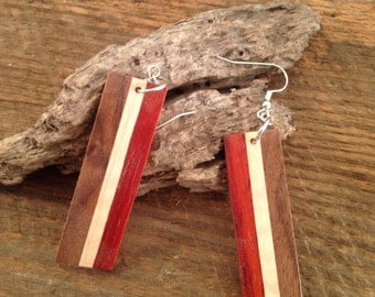 Wooden Earrings   Natural Wood Earrings   Dangling Earrings   Handmade Wooden Earrings   Handmade Earrings