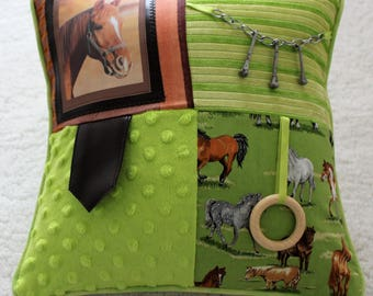 Fidget Cushion ~ Sensory Activity Pillow ~ Dementia Twiddle Cushion ~ Alzheimer Gift ~ Busy Cushion ~ 'Remembering Horses'