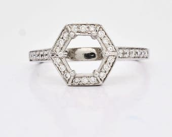 Platinum 0.25ctw Genuine Diamond Semi-Mount 6mm Round 3.8g