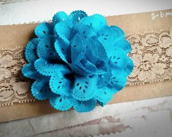 Turquoise flower headband-Infant Headband-Baby Headband- lace Headband, eyelet lace Headband,3-6 month Headband, tan Headband, baby gift