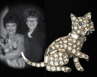 Vintage Silver Tone Rhinestone Kitty Cat Brooch with Blue Glass Eyes by Pell