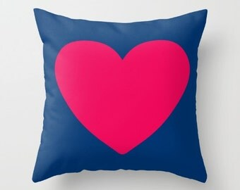 Red Heart Decorative throw pillow cover-Valentine gift-Love gift-16x16 pillow-18x18 pillow-20x20 pillow-Colourful pillow-Pink heart pillow