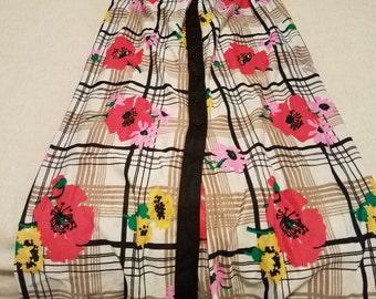Vintage Mixed Print Maxi Skirt