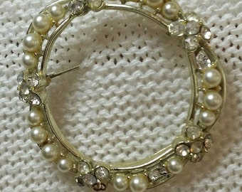 Vintage Faux Pearl and Rhinestone Wreath Brooch Pin