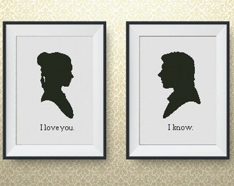 BUY 2, GET 1 FREE! Set, Star Wars Han Solo and Princess Leia love! Cross stitch pattern, pdf counted cross stitch, I love you I know, #P067
