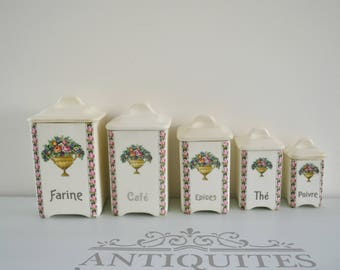 Set of 5 boxes spice vintage earthenware, floral, spices