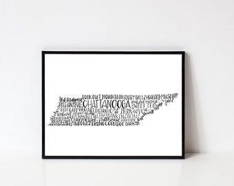 hand lettered CHATTANOOGA TN Word Art Print // 8x10 and 11x14