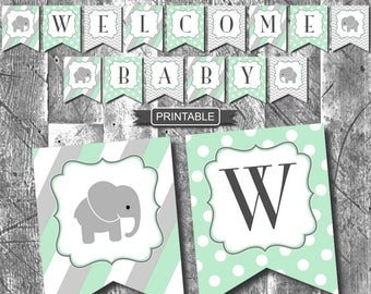 Mint Green Elephant Baby Shower Baby Sprinkle Decorations Banner Digital Printable PDF Instant Download Boy or Girl Baby Shower-Welcome Baby