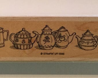 "Stampin' Up! Teapots  1""x6"" Used Wooden Rubber Stamp 1996"