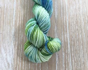 Green/Blue Hand dyed yarn, 100% Superwashed  Extra Fine merino wool, mini skein 20 gram