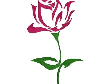 Rose with Stem Embroidery Download