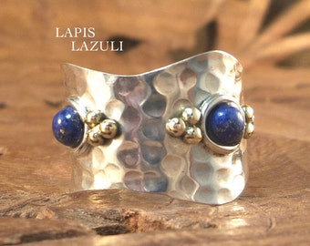 Sterling Ring Stylish Bohemian Women's hammered Ring- Lapis Lazuli & Hammered Sterling Silver Two Tone Women's Ring, size 7