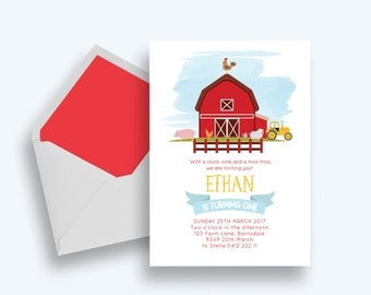 Cute Farm Animal, Kids Birthday Invitations- Digital File