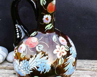 Glass Jug Dark Brown - Hand Painted Flower and Bird Design - Made in Spain