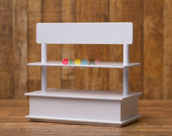 Dollhouse Miniatures Two-Sided Wooden Bakery Shelf
