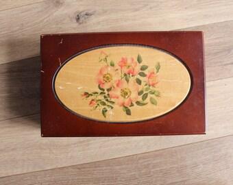 VTG 90s Brown-Floral Jewlery Box