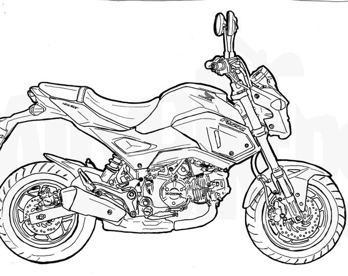 Honda Grom Colouring Page - Motorcycle Illustration - Motorcycle Coloring -Minibike