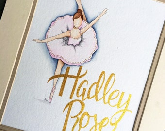 Ballerina Nursery Decor. Baby girl nursery decor. Personalized nursery Art.