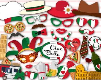 Digital Italy Photo Booth Props, Printable Italy Travel Party PhotoBooth Props, Instant Download Inspired Italian Photo Booth Props 0046