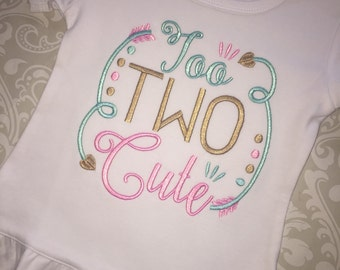 Too two cute second birthday ruffle tee shirt for girls birthday, birthday shirt for girl, second birthday embroidered shirt, two birthday