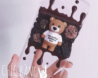Chocolate Bear- Kawaii Decoden Whipped Cream Phone Case