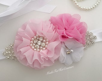 Pink bridal bridesmaid flower girl sash, pink white wedding sash, pink white maternity sash belt, pink bridal belt,