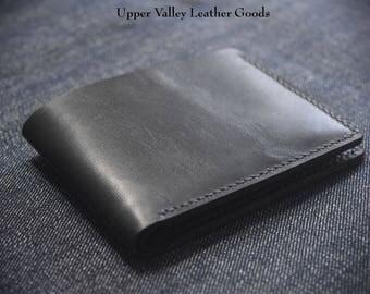 Bifold Wallet six pocket Billfold wallet Black Personalized Made in USA