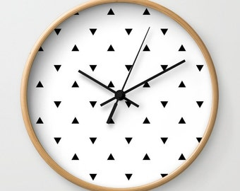 Triangle clock etsy - Black and white kitchen clock ...